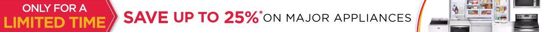 hhgregg up to 25% off Major Appliances