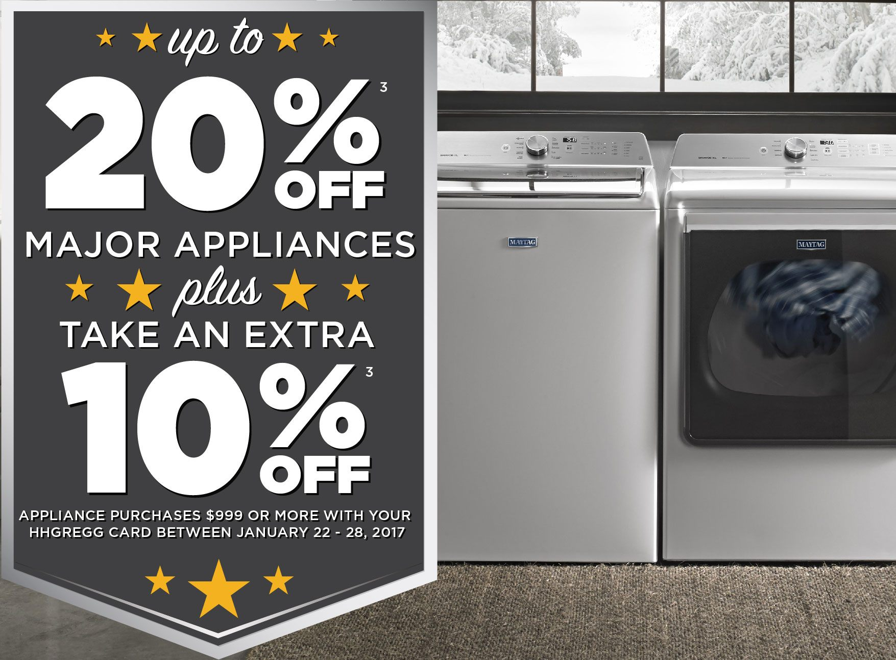 hhgregg Major Appliances - up to 20% off PLUS extra 10% on hhg card $999+