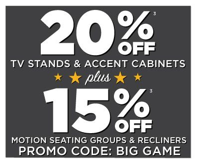 hhgregg Get Ready for the Big Game with 15% off Motion Seating Groups & Recliners & 20% off TV Stands & Accent Cabinets