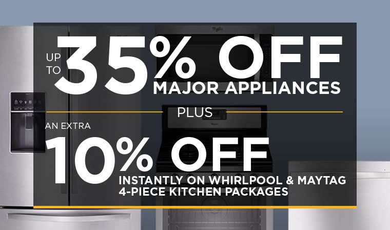 Save 10% on Whirlpool & Maytag 4-Piece Kitchen Packages