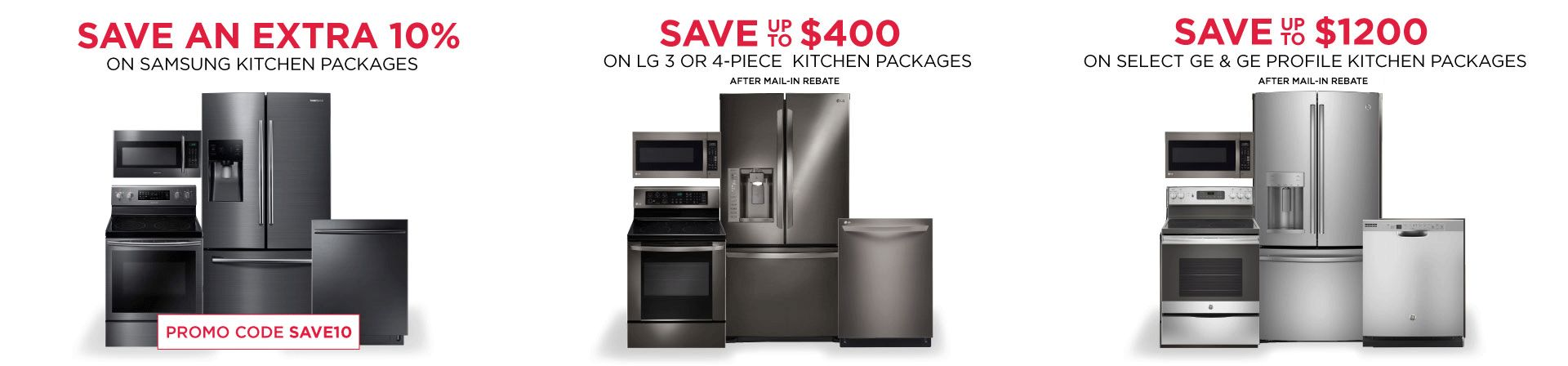 Save EXTRA on packages from GE, LG & Samsung!