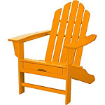 Hanover All-Weather Tangerine Contoured Adirondack Chair with Hideaway Ottoman