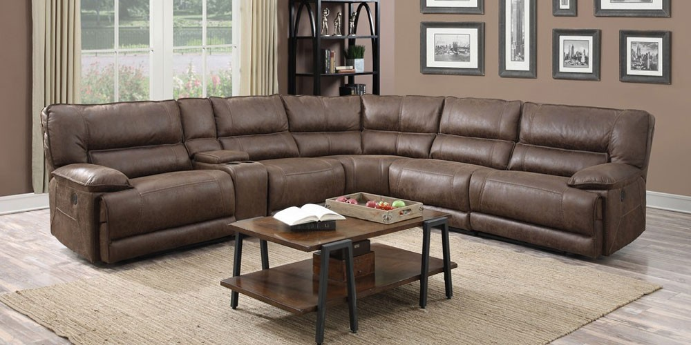brown leather sectional in living room.
