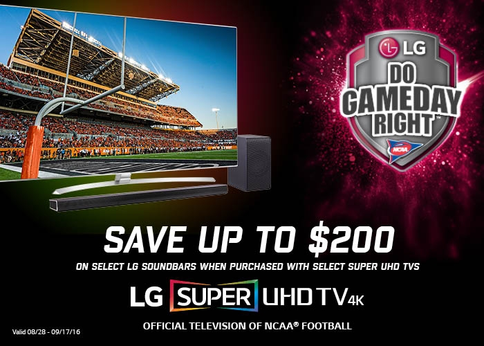 LG Free Sound Bar Promotion when Purchased with Select UHD Tvs