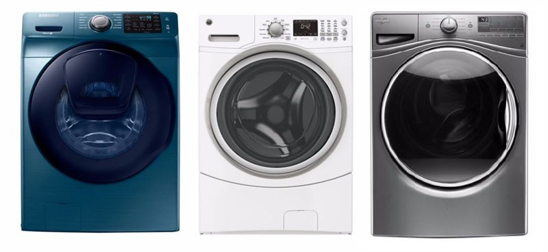 three front load washing machines.