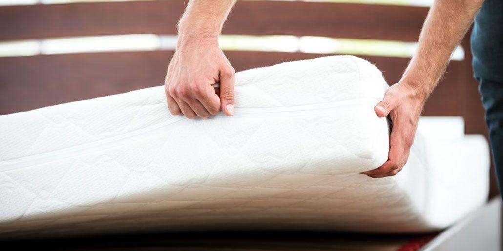 cleaning a mattress.