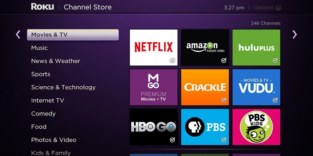 roku streaming device tv screen.